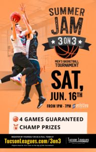 June 16th Summer Jam 3 on 3 Men's Basketball Tournament